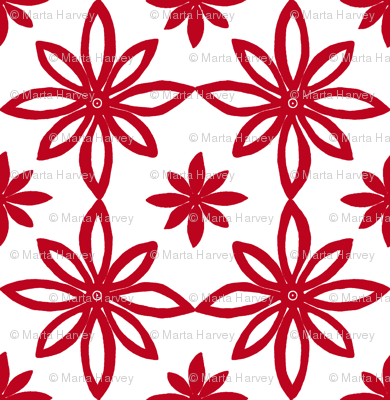 Pattern With 2 Flowers in White and Red