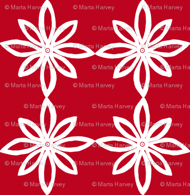 Simple Flower Pattern in Red and White