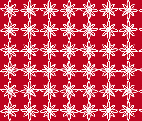 Simple Flower Pattern in Red and White fabric by martaharvey on Spoonflower - custom fabric