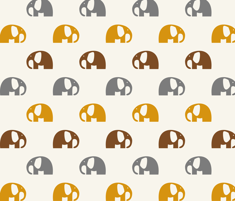 elephants_6cm_3row_yellow-grey-brown fabric by two_little_flowers on Spoonflower - custom fabric