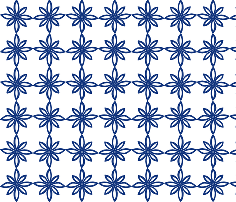 Simple Flower Pattern in White and Blue fabric by martaharvey on Spoonflower - custom fabric