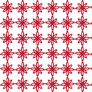 Simple Flower Pattern in White and Red