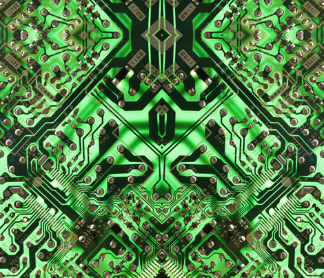 green circuit board fabric by craftyscientists on Spoonflower - custom fabric