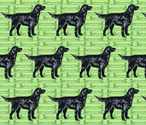 Flatcoat Retriever with Duck Decoys fabric by dogdaze_ on Spoonflower - custom fabric