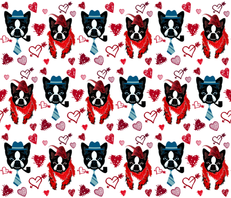 DUKE AND DAISY  FALL IN LOVE fabric by bluevelvet on Spoonflower - custom fabric