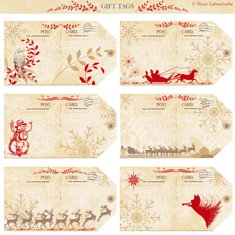 Old Postcards Holiday Gift Tags fabric by diane555 on Spoonflower - custom fabric