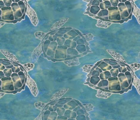 Sea Turtle Batik Style fabric by lauriekentdesigns on Spoonflower - custom fabric