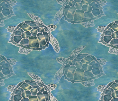 Sea Turtle Batik Style fabric by luv2silkpaint on Spoonflower - custom fabric