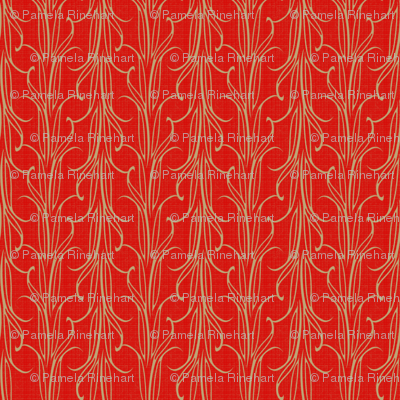 lily_leaf_stripe_beige_on_flame