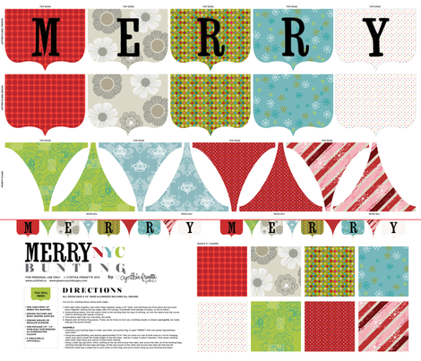 MERRY NYC Bunting fabric by cynthiafrenette on Spoonflower - custom fabric
