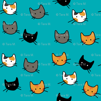 Scattered Kitties - Aqua