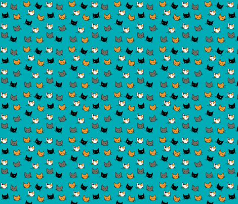 Scattered Kitties - Aqua fabric by graycatbird on Spoonflower - custom fabric