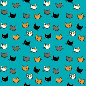 Scattered Kitties - Aqua
