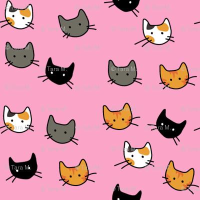 Scattered Kitties - Pink
