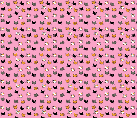 Scattered Kitties - Pink fabric by graycatbird on Spoonflower - custom fabric