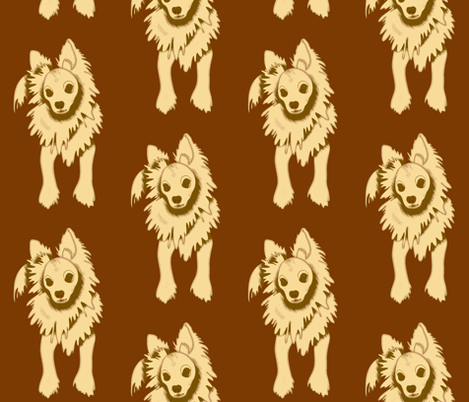 Frank Sinatra PapiPom dog design - brown fabric by waiomaotiki on Spoonflower - custom fabric