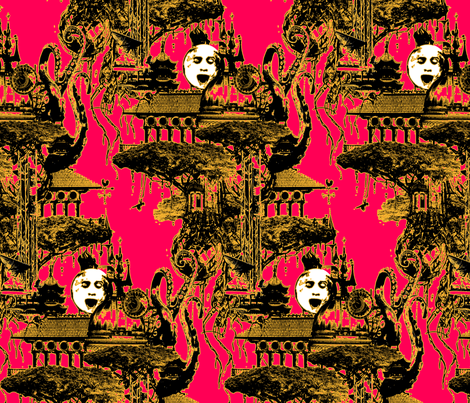 strange-flying-island-fiery_pink2 fabric by marcador on Spoonflower - custom fabric