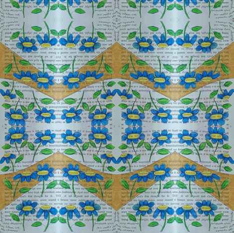 secrets - blue daisies 1 fabric by gonerustic on Spoonflower - custom fabric
