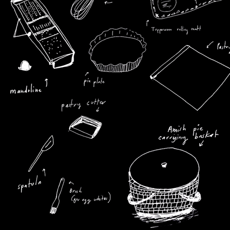 pie_making_supplies-black fabric by elizabethgraeber on Spoonflower - custom fabric