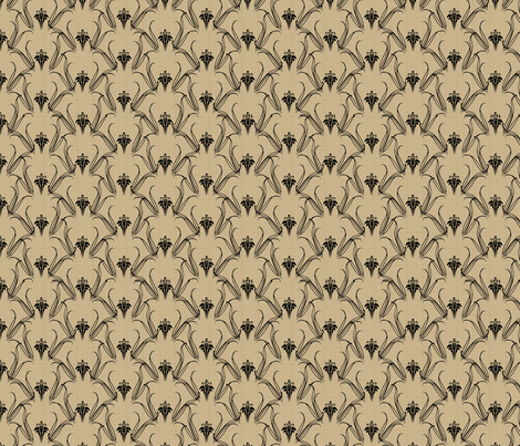LILLIEs_black_on_beige fabric by glimmericks on Spoonflower - custom fabric