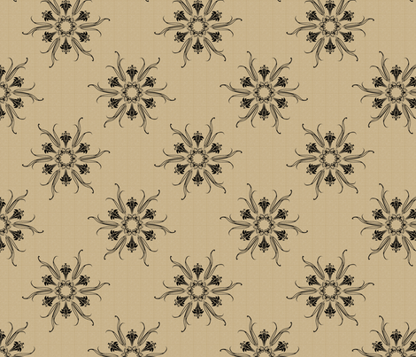 butterflakes_black_on_beige fabric by glimmericks on Spoonflower - custom fabric