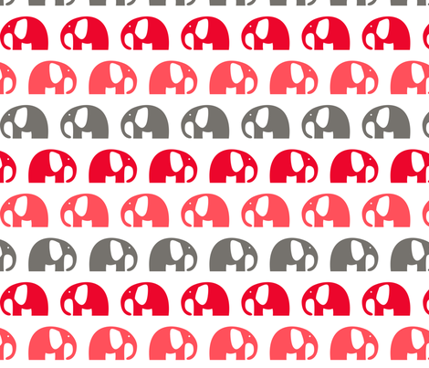 elephants_6cm_3row_pink red grey - version 2 fabric by two_little_flowers on Spoonflower - custom fabric