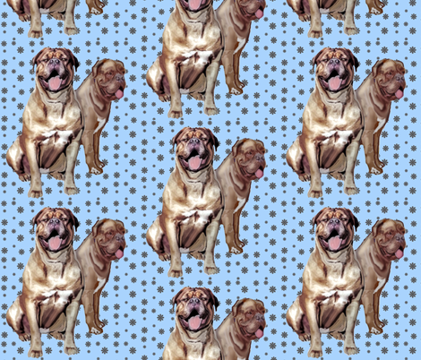 Two Dogue de Bordeaux fabric by dogdaze_ on Spoonflower - custom fabric