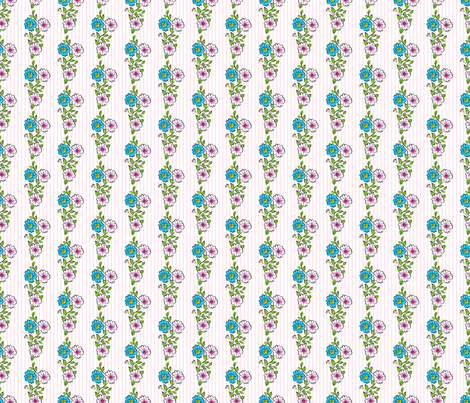 Carousel Ponies - Coordinating Flowers Stripe Print