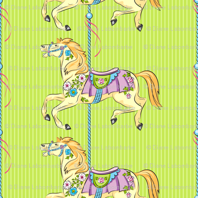 Carousel Ponies - Green Background