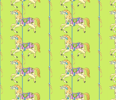 Carousel Ponies - Green Background  fabric by diane555 on Spoonflower - custom fabric
