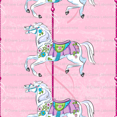 Carousel Ponies - Pink Background