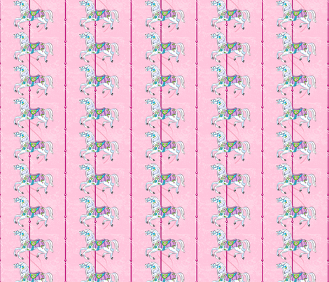 Carousel Ponies - Pink Background  fabric by diane555 on Spoonflower - custom fabric