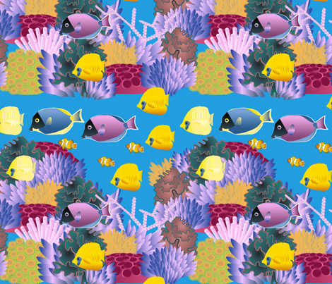 life on coral reef fabric by kociara on Spoonflower - custom fabric