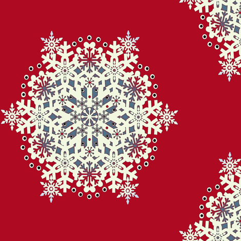 Snowflake Nordic Red fabric by paragonstudios on Spoonflower - custom fabric