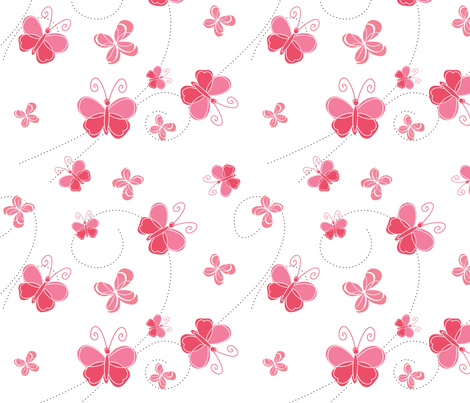 Pink Butterflies fabric by lesrubadesigns on Spoonflower - custom fabric