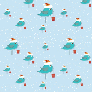 Christmas Blue Birds