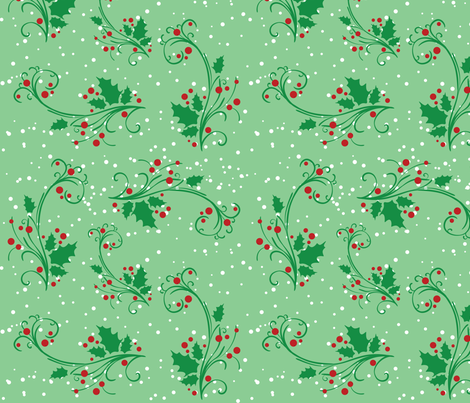 Holiday Holly Berries fabric by lesrubadesigns on Spoonflower - custom fabric