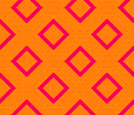 WOVEN HERRINGBONE DIAMOND - fiery pink and mandarin
