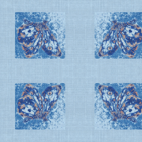 butterfly on blue linen fabric by materialsgirl on Spoonflower - custom fabric