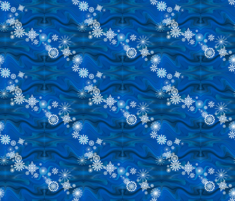 Floating_Snowflakes by Sylvie fabric by art_on_fabric on Spoonflower - custom fabric