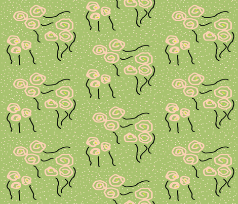 Dancing Roses in the Snow fabric by anniedeb on Spoonflower - custom fabric