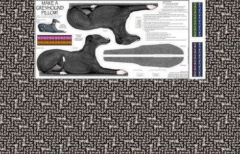 Black Tuxedo Greyhound kit, vers A -female fabric by artbyjanewalker on Spoonflower - custom fabric