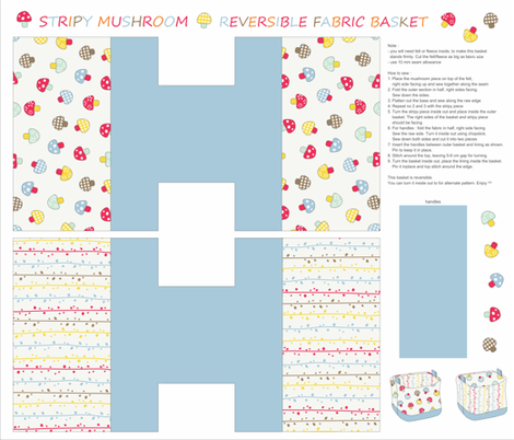 Mushroom fabric basket fabric by maeli on Spoonflower - custom fabric