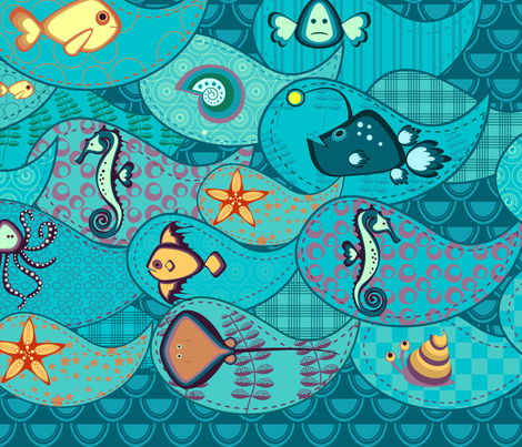 Under the sea pattern fabric by inkpudding on Spoonflower - custom fabric