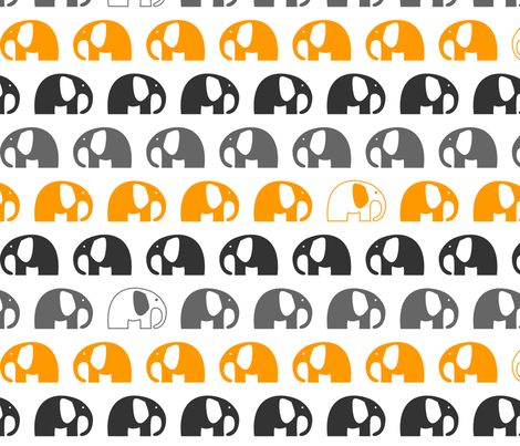 elephants_6cm_3row_orange grey charcoal fabric by two_little_flowers on Spoonflower - custom fabric