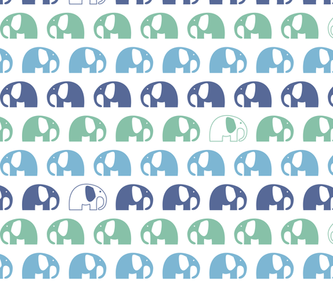 elephants_6cm_3row_blue green blue fabric by two_little_flowers on Spoonflower - custom fabric