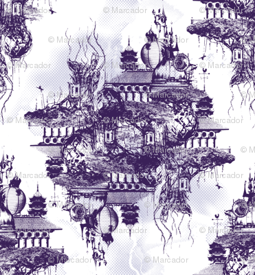 STRANGE FLYING ISLAND TOILE - purple