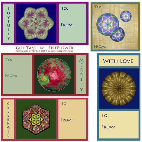 Gift Tags by FireFlower ©2012 Sue Ellen Wolcott fabric by fireflower on Spoonflower - custom fabric