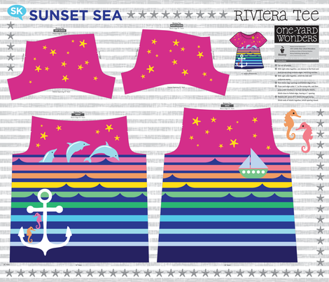 Sunset Sea Riviera Tee fabric by sammyk on Spoonflower - custom fabric
