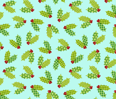 Shabby Chic Holiday Holly on Aqua fabric by patricia_shea on Spoonflower - custom fabric